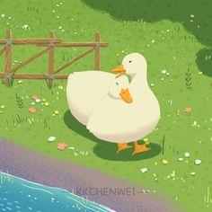 Wallpaper Iphone Cute, Cute Wallpapers, Animal Drawings, Art Drawings, Cute Ducklings, Duck Art, Cute Illustration, Aesthetic Anime, Art Inspo