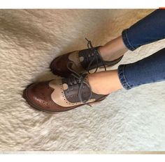 Womens Retro Oxfords Leather Flat Low Heels Brogues Wingtip Lace Up Dress Shoes #Unbranded #Oxfords #Casual