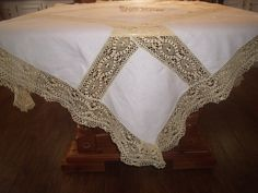 Very Unusual  Vintage Linen Tablecloth by BridenetVintageLinen