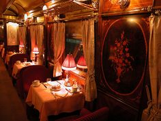 I was thinking of the old days and how some people travelled on these 'Posh' modes of transport and this is what I found - Orient Express dining. Incredible!