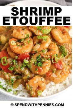 Shrimp Étouffée is packed with shrimp smothered in Cajun-style spices! It's slow simmered with peppers, onions, and tomatoes, then served on a bed of rice! #spendwithpennies #shrimpetouffee #recipe #maindish #homemade #cajun Cajun Recipes, Turkey Recipes, Seafood Recipes, Easy Recipes, Easy Meals, Shrimp Etouffee, Etouffee Recipe, Norway Food, Good Food