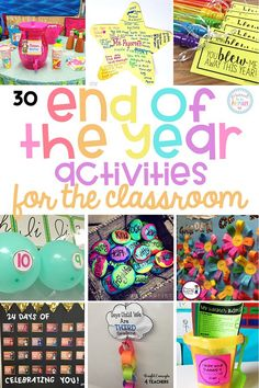 The BEST end of the year activities for the classroom and teachers. Plan your final days with these arts & crafts, themed days and fun countdowns, gift and party ideas, games and outdoor activities, bucket lists, organizational tips, and more! #endoftheyearactivities #schoolactivities #classroomactivities #classroomparty
