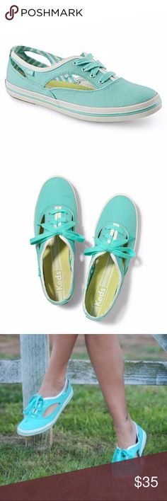 Keds Cutout Sneakers 8 Light Green Breezy cutouts add a cute update—and built-in air conditioning—to an essential old-school sneaker. Lace-up style. Textile upper and lining/rubber sole. By Keds; imported. Size 8 Very good condition soles and canvas wraps. Keds Shoes Sneakers