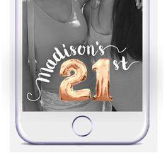 21st Birthday Snapchat Geofilter Mylar Balloon by DamesAndDollies