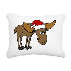 Funny Christmas Moose Wearing Santa Hat Pillow #moose #Christmas #funny #animals #pillows #cafepress