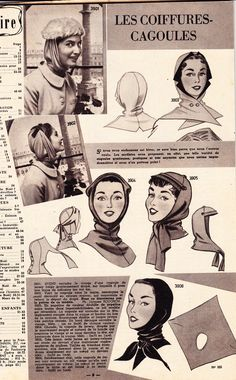 Amazing 1950s french sewing pattern for cagoule hat