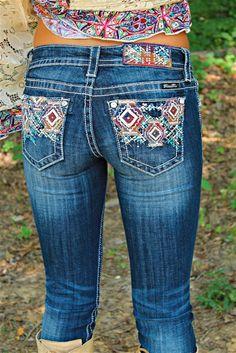 Miss Me Geometric Splendor Med/Dark Straight Leg Jeans JP8423T