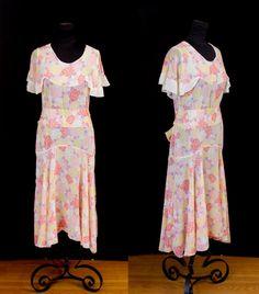 1920's Dress // Colorful Floral Cotton Cape Collar Spring Dress