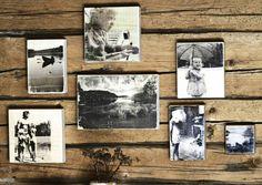 Siirrä valokuvakopiot höylätyn lankun pintaan vesiliukoisen kalustelakan avulla. Katso Meidän Mökin kuvalliset ohjeet ja kokeile itse. Diy And Crafts, Arts And Crafts, Alternative Art, Photo Transfer, Diy Art, Decoupage, Gallery Wall, Homemade, Frame
