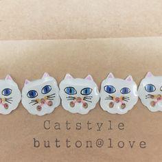 Cat button Handmade  ボタン ハンドメイド ねこ 猫  わたがしにゃんこ