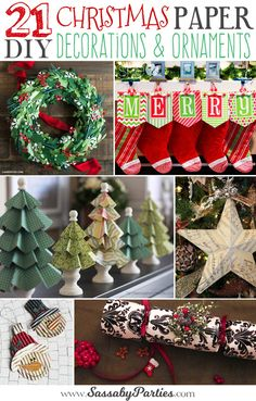 21 DIY Christmas Paper Decorations - The Sassaby Party Co. Diy Christmas Paper Decorations, Paper Christmas Ornaments, Christmas Wreaths, Christmas Christmas, Christmas Quotes, Handmade Decorations, Christmas Items, Christmas Lights, Homemade Christmas
