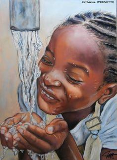 """""""SOUADOU se désaltère"""" Pastel sec sur papier abrasif http://www.artmajeur.com/fr/artist/catherinewernette/collections Petite fille qui étanche sa soif."""