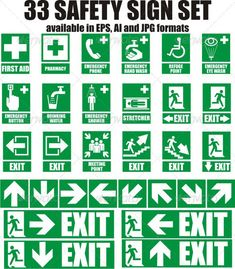 Buy 33 Emergency Sign by szabolehel on GraphicRiver. Here is a set of 33 most used emergency sign. Every sign is available in JPG, AI and EPS format. Health And Safety Poster, Safety Posters, Road Safety Quotes, Visual Management, Emergency Management, Emergency Exit Signs, Safety Pictures, Safety Slogans, Home Safety Tips