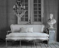 ♅ Dove Gray Home Decor ♅   french grey settee and bust