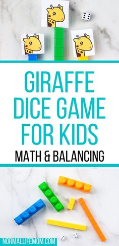 A fun and easy dice game for kids will. Use simple addition and subtraction to see who can grow their giraffes neck the longest without it falling over! #preschoolactivity #preschoolmath #mathactivity #diygame #easygame #safarigame #preschoolmathactivity #mathgames #preschoolideas #giraffegame #familydicegames #easydicegames #easygamesforkids Math Activities For Kids, Fun Math Games, Indoor Activities For Kids, Jungle Preschool Themes, Preschool Learning, Kindergarten Math, Play Based Learning, Learning Through Play, Fun Learning