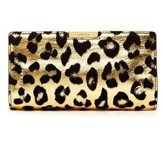 MILLY Leopard Small Frame Leather Clutch ($99) ❤ liked on Polyvore featuring bags, handbags, clutches, gold, accessories handbags, leopard purse, leopard print handbags and genuine leather purse