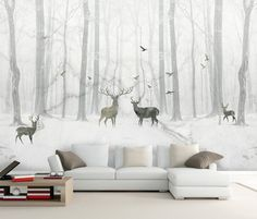 Black White Elk Forest Removable Wallpaper,Peel and stick Wall Mural, Floral, Wall Art,Wall Decal Nursery Wall Stickers, Wall Decals, Black And White Abstract, Black White, Black Deer, Kids Wall Murals, Mural Wall, 3d Home, Traditional Wallpaper