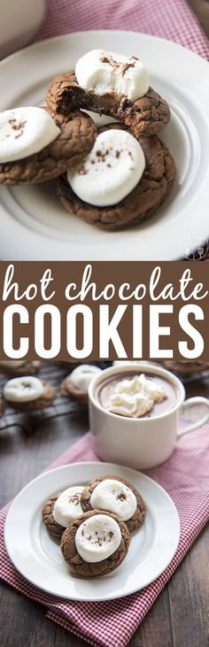 Hot Chocolate Cookies - These delicious rich, soft chocolate cookies are topped with melted chocolate and a gooey marshmallow. They're perfect paired with a mug of steamy hot chocolate! Or great for a holiday party! (And don't forget to enter to win $500 cash with our holiday giveaway!):