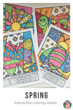 These interactive coloring sheets make for a fun, creative, Spring activity for kids. Fun for kids, easy for teachers! #springactivities #springactivitiesforkids #artwithjennyk