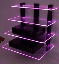 Wall Shelves Design, Glass Shelves, Room Ideas Bedroom, Bedroom Decor, Living Room Lighting Design, Neon Room, Gaming Room Setup, Video Game Rooms, Game Room Design