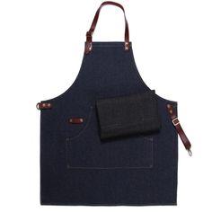 Blue Black Denim Bib Apron with Genuine Leather Straps&Convenient Pockets. Suitable for Uniform of Barber,Barista,Bartender,Chef,Stylist,Waiter/Waitress,Hairdresser,Florist,Painter,Gardener, Baker,Carpenter,Woodworker &Work wear of Salon,Bakery,Cafe,Hotel,Restaurant,Bistro,Tattoo shop,Craft workshop etc.