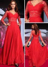 Red Lace V-Neck Evening Dress