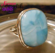 'SZ 7 3/4 Elite Natural Rare Larimar .925 SS Ring' is going up for auction at  5pm Sat, May 11 with a starting bid of $12.