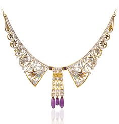 From the House of Masriera 18-karat yellow gold bib necklace with round brilliant-cut diamonds, and transluscent, plique-à-jour enamel flowers, with amethyst accents. Available at Cellini jewelers NYC