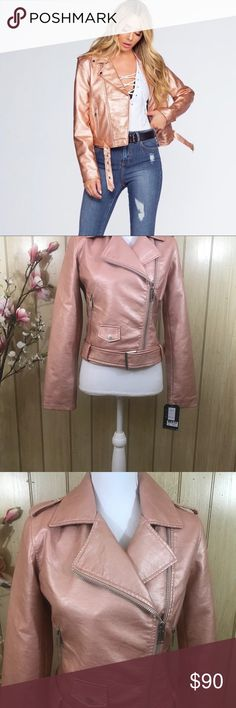 Rose Gold Faux Leather Moto Jacket Small Pink NWT Collection B Rose Gold Vegan Leather Moto Jacket is all you need for a showstopping ensemble! Metallic vegan leather shapes this classic moto jacket with an array of zipper pockets across the fitted bodice, buckled belt, plus long sleeves. Collared neckline leads into an asymmetrical front zipper. This jacket gives us major bad-ass vibes. Brand new with tags. Size-Large. Outer shell- 100% Polyurethane Lining- 100% Polyester Collection B…