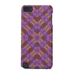 Purple Orange Feminine Geometric Block Tile Trendy Pattern iPod 5 Touch Case - Available on many case types iPhone 5, iPhone 4, iPod 5, iPod 4, Samsung Galaxy S4, Samsung Galaxy S3, and more...