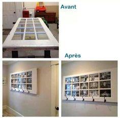 Transformation d'une porte vitree en cadre photo geant et porte manteau