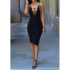 Black Spaghetti Strap Backless Round Neck Sleeveless Bodycon Club Midi Dress - MalangFashion
