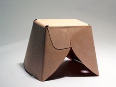 Untitled Stool - Nikolaj Steenfatt suggests simplicity of folded forms cut in one sheet and (steam ?) bent into shape