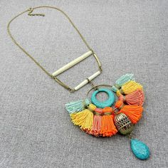 Colorful Bohemian Tassel Statement Necklace Tribal Ethnic Jewelry