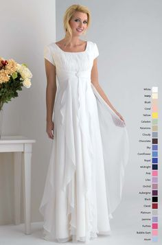 modest short sleeves empire waist chiffon discount bridesmaid dress WH381 [WH381] - US$72.00 : Wholesale wedding dress