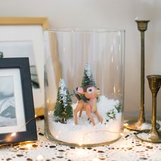 Bambi's snow-capped winter terrarium makes for an adorable addition to any kids room!