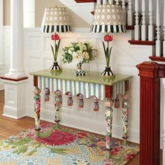 Even though the Marble Entry Table has an array of it's own patterns and colors, the pastel tone makes it available to be blended with other patterns and colors easily.