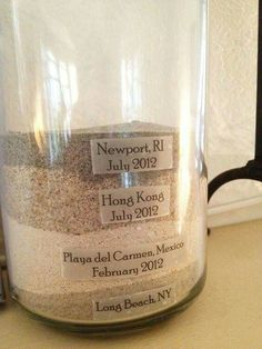 Well this is a cool newlywed idea! Take the sand from your honeymoon (if you're on a beach vacation) and continue the trend in one jar of all the places you've visited & memories you've made! Who loves this idea? Photo Credit: diply.com