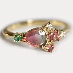 in love with new one of a kind watermelon tourmaline cluster ring! Beautiful pear shaped watermelon tourmaline slice paired with emerald diamond and pink tourmaline  #watermelontourmaline #watermelon #cluster #clusterearrings #clusterring #pink #green #oneofakind #romantic #forest #flower #pinkkiss #paris #tokyo #newyork #etsy #capucinne #love #couple #smile #pinklove