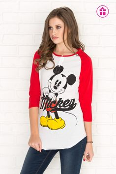 Red & white Mickey Mouse baseball tee - New Arrivals Ardene Official Online Store Disney Bound Outfits, Disney Dresses, Disney Clothes, Mickey Mouse Outfit, Minnie Mouse, Cool Outfits, Fashion Outfits, Dress For Success, Disney Shirts