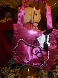 HOT Pink HELLO KITTY Purse with BLING SEQUINS