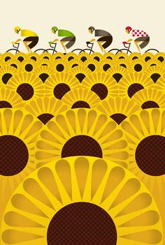The four jerseys, sunflowers, bicycles, Tour de France - Eleanor Grosch