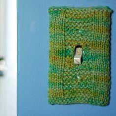 Yarn bomb light switch cover