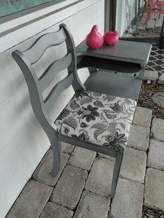 Telephone Table, Gossip Bench, Neutral Gray. Modern Vintage