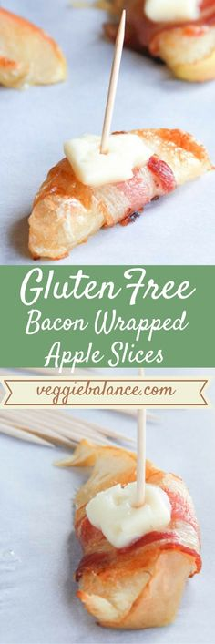 Bacon Wrapped Apple Slices with Brie | The easiest and most delicious appetizer and snack you can make to wow your crowd. | http://www.VeggieBalance.com/bacon-wrapped-apple-slices/