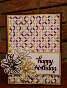 Hello and happy Thursday, Here are a couple of birthday cards very simple to do. For both cards I used MOONLIGHT DESIGN SERIES PAPER and TIN OF CARDS stamp set from Stampin' Up! The base cardstock...