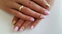 nails#baby#pink#love#bows#gold