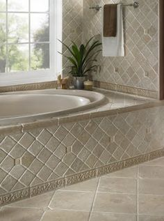 Backsplash Picture Ideas: Lifetime Sealer on Tumbled Marble Stone for Showers! Bathtub Tile Surround, Travertine Bathroom, Slate Bathroom, Tuscan Bathroom, Master Bathroom Tub, Bathroom Tile Designs, Rustic Bathrooms, Shower Remodel, Beautiful Bathrooms