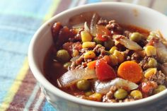 Autumn Vegetable Beef Soup--I would substitute cuts of beef for the ground beef (my family and I don't like ground beef... )