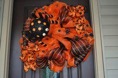 Lighted Halloween Spider Wreath, Deco Mesh Wreath, Wreath, Halloween Wreath, Spider, Spider Decoration, Door Hanger.. $115.00, via Etsy.